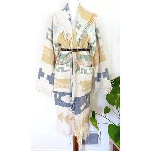 Vintage Pastel Fringe Western Snake Kimono Jacket